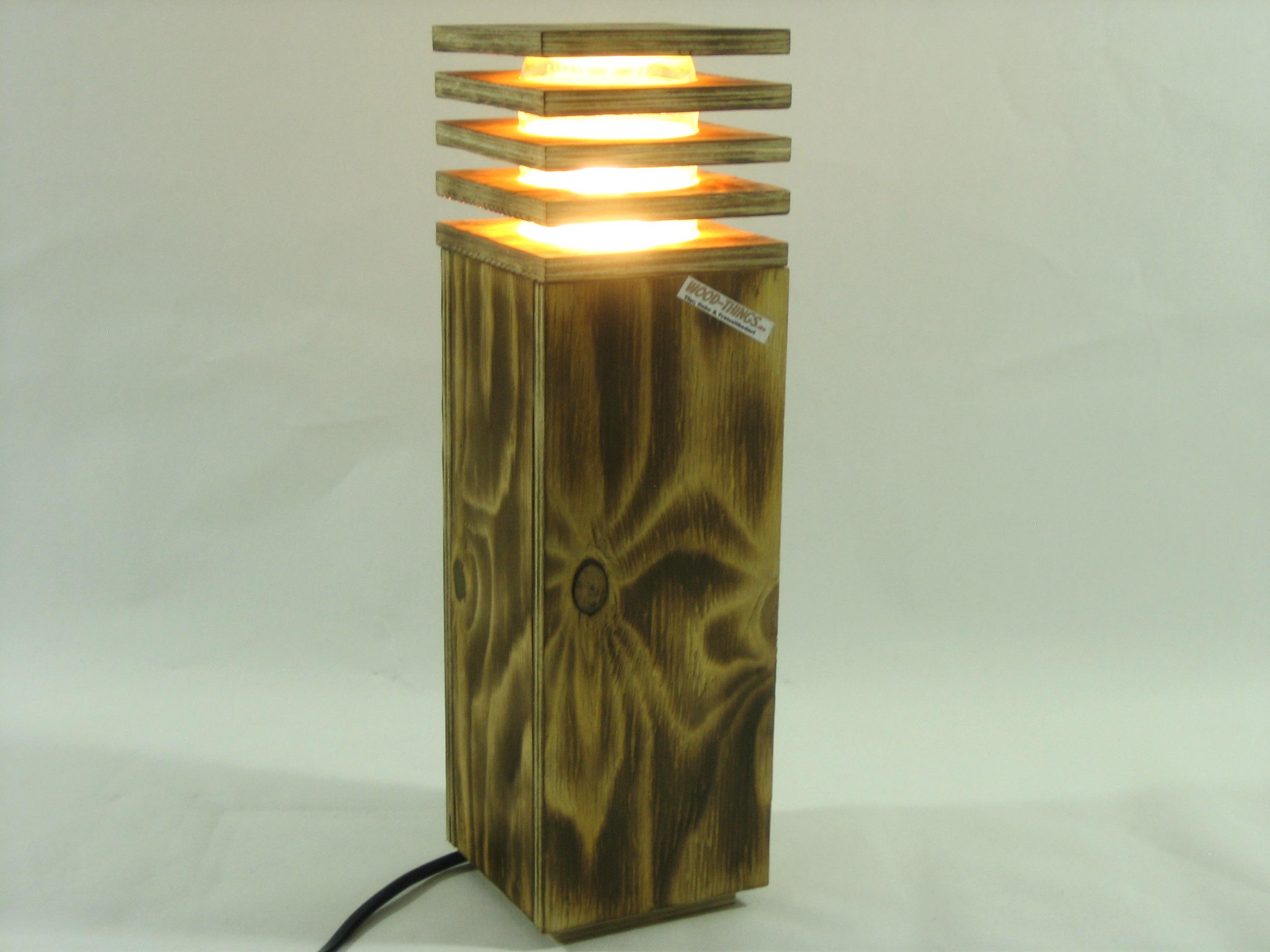 Wood rustikale holzlampe mit led technik for Led holzlampe